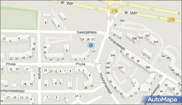Piła, Wyszyńskiego Stefana, ks. Prymasa kard., 1D, mapa Piły