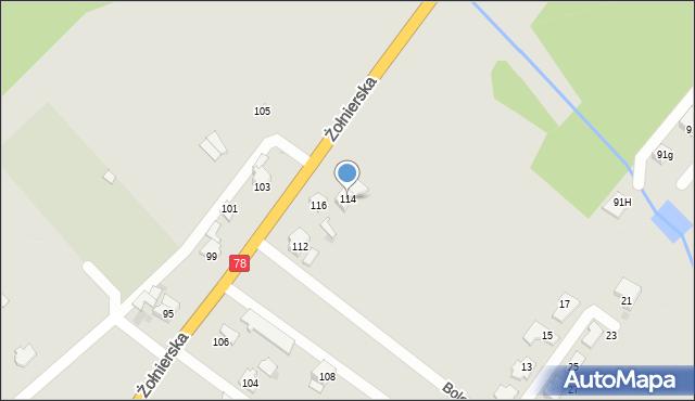 Bytom, Żołnierska, 114, mapa Bytomia