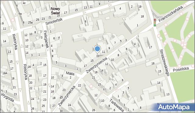 Kraków, Zwierzyniecka, 13, mapa Krakowa