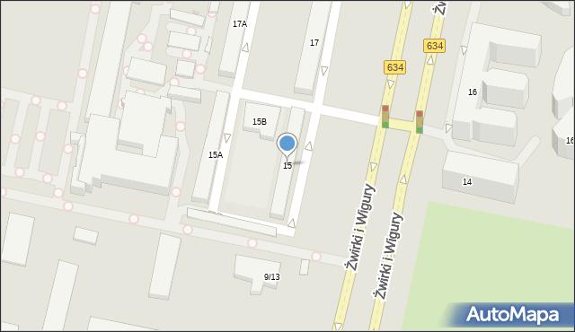 Warszawa, Żwirki i Wigury, 15, mapa Warszawy