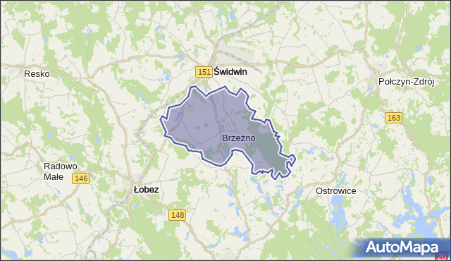 gmina Brzeżno - powiat świdwiński na mapie Targeo