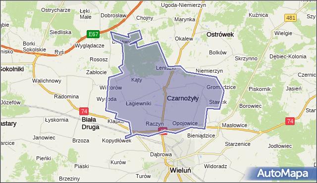Mapa Polski Targeo, gmina Czarnożyły - powiat wieluński na mapie Targeo