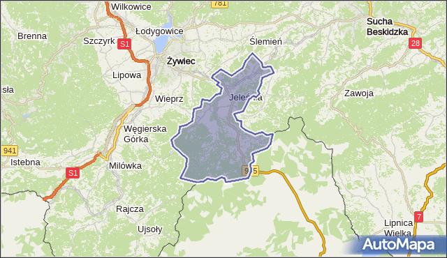 gmina Jeleśnia - powiat żywiecki na mapie Targeo