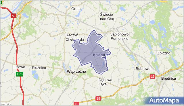 gmina Książki - powiat wąbrzeski na mapie Targeo