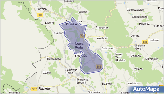 gmina Nowa Ruda - powiat kłodzki na mapie Targeo