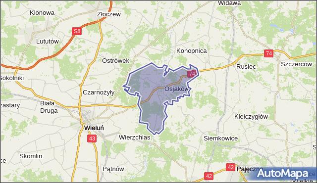 Mapa Polski Targeo, gmina Osjaków - powiat wieluński na mapie Targeo