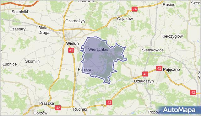 Mapa Polski Targeo, gmina Wierzchlas - powiat wieluński na mapie Targeo