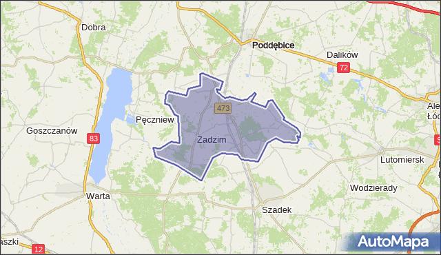 gmina Zadzim - powiat poddębicki na mapie Targeo