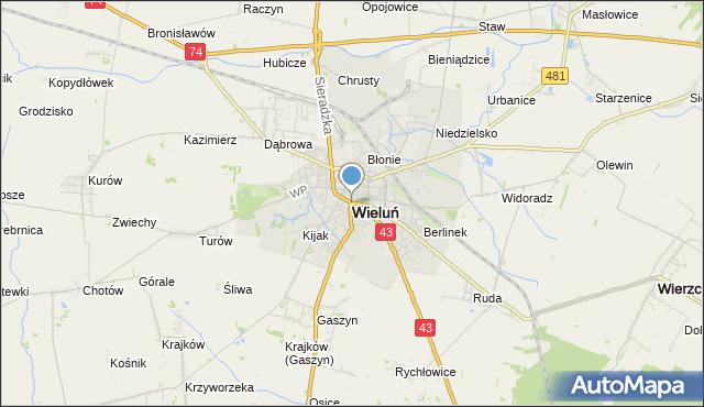 Mapa Polski Targeo, mapa Wieluń, Wieluń na mapie Targeo
