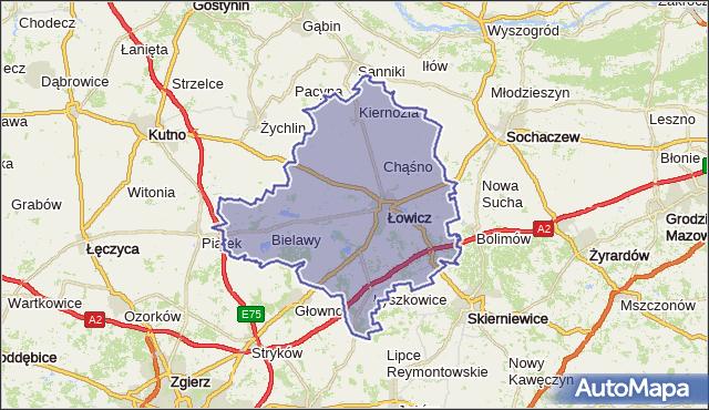 powiat łowicki - województwo łódzkie na mapie Targeo