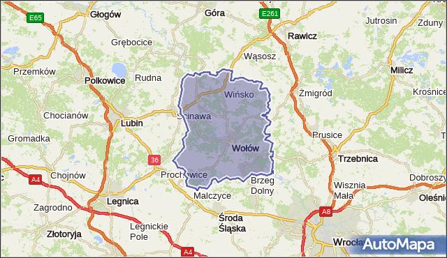 powiat wołowski - województwo dolnośląskie na mapie Targeo