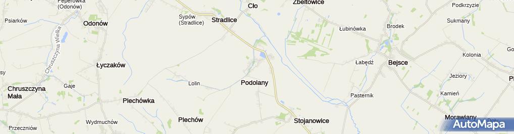 Zdjęcie satelitarne Podolany (województwo świętokrzyskie)