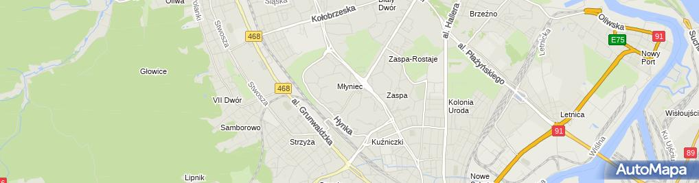 Zdjęcie satelitarne Polmed - Centrum Medyczne w Gdańsku - Zaspa