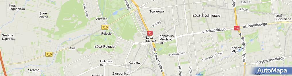 Zdjęcie satelitarne Łódź Kaliska