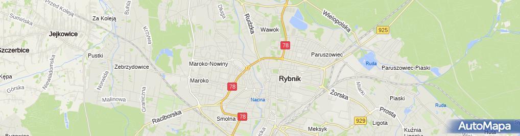 Zdjęcie satelitarne RCKiK Racibórz OT Rybnik
