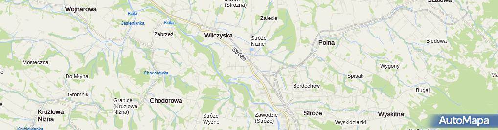 Zdjęcie satelitarne OSP Stróże