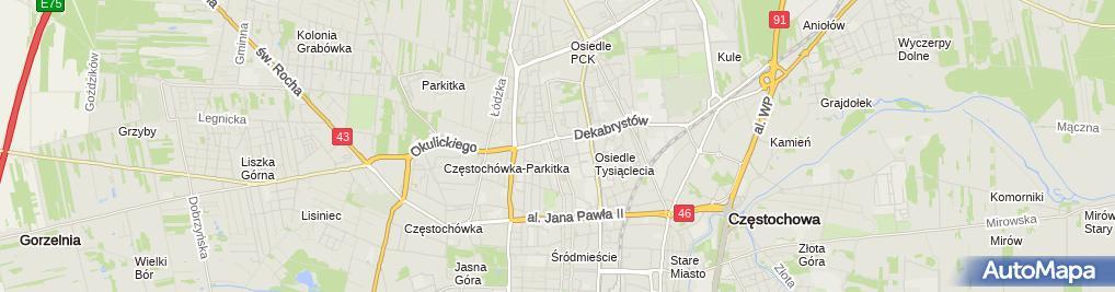 Zdjęcie satelitarne Urząd Dozoru Technicznego Oddział w Częstochowie