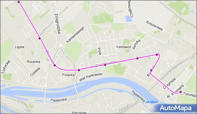 Autobus 105 - trasa Zajezdnia Obornicka - KROMERA. MPKWroclaw na mapie Targeo