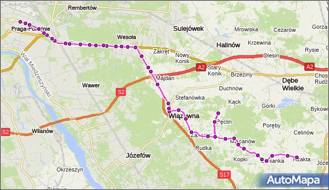 Autobus 720 - trasa RZAKTA RZ - WIATRACZNA. ZTM Warszawa na mapie Targeo
