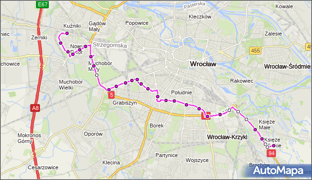 Autobus 134 - trasa NOWY DWÓR (Pętla) - KSIĘŻE WIELKIE. MPKWroclaw na mapie Targeo