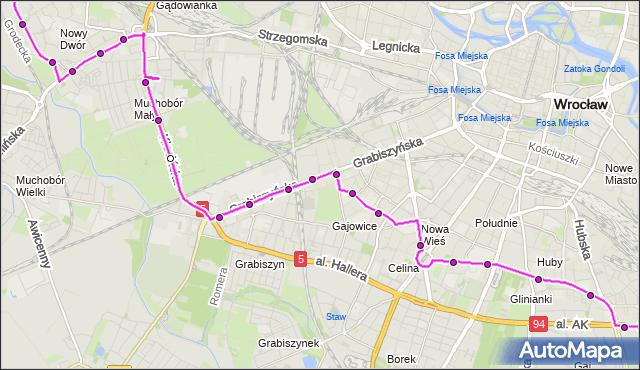 Autobus 134 - trasa NOWY DWÓR (Pętla) - TARNOGAJ. MPKWroclaw na mapie Targeo