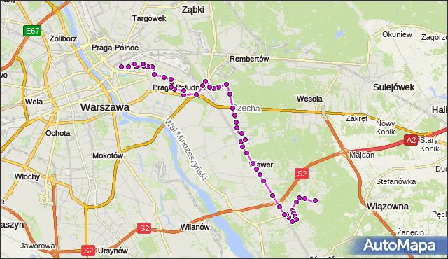 Autobus 115 - trasa ALEKSANDRÓW - DW.WSCHODNI (LUBELSKA). ZTM Warszawa na mapie Targeo