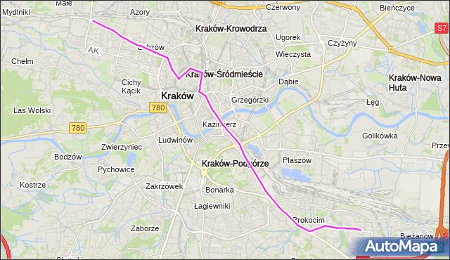 Tramwaj 13 - trasa Bieżanów Nowy - Bronowice Małe. MPKKrakow na mapie Targeo