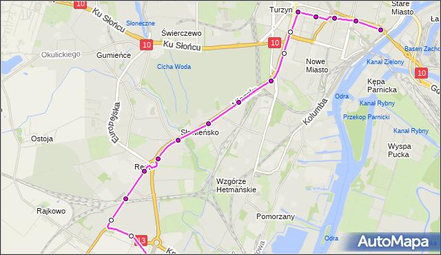 Autobus 61BIS - trasa  - Wyszyńskiego. ZDiTM Szczecin na mapie Targeo