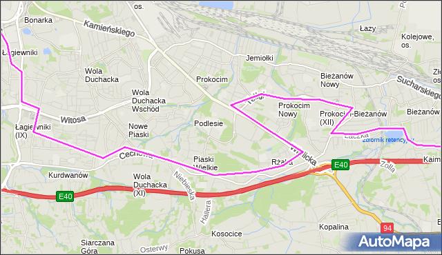 Autobus 133 - trasa Łagiewniki - Bieżanów Potrzask. MPKKrakow na mapie Targeo
