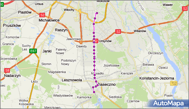 Autobus 709 - trasa METRO WILANOWSKA - PKP PIASECZNO PS. ZTM Warszawa na mapie Targeo