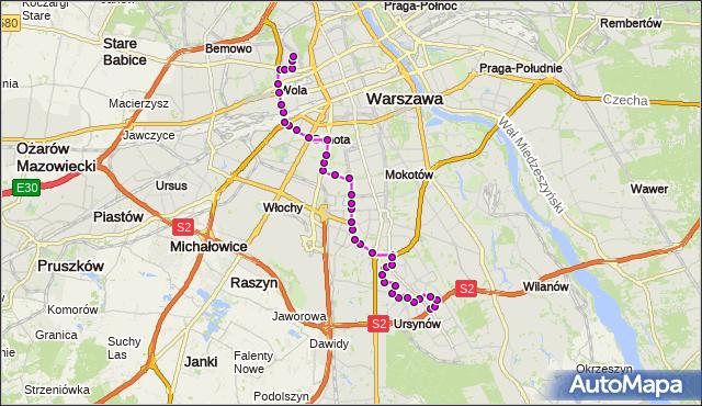 Autobus 136 - trasa NATOLIN PŁN. - MŁYNÓW. ZTM Warszawa na mapie Targeo