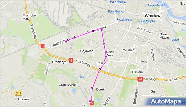 Autobus 113 - trasa Zajezdnia Grabiszyńska - KRZYKI. MPKWroclaw na mapie Targeo