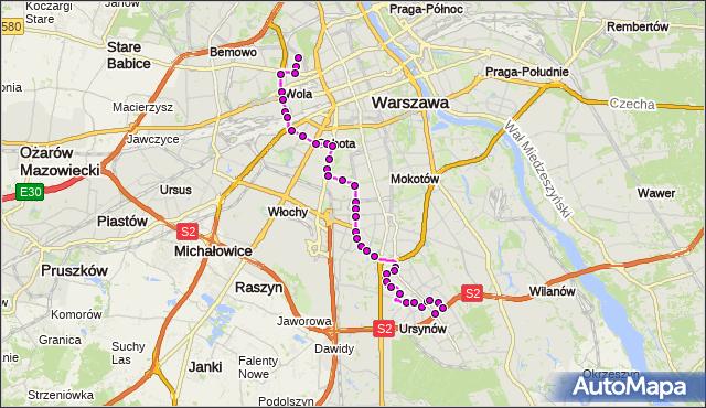 Autobus 136 - trasa MŁYNÓW - NATOLIN PŁN.. ZTM Warszawa na mapie Targeo