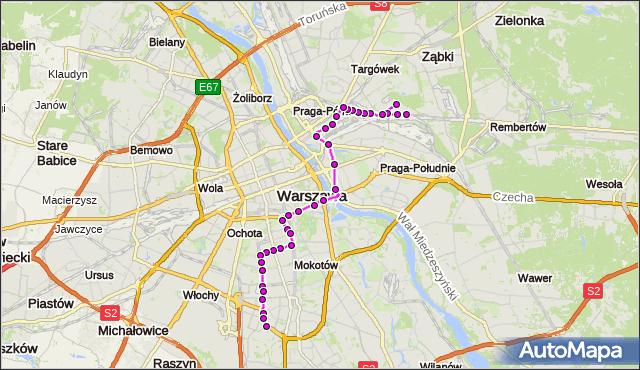 Autobus 138 - trasa UTRATA-SKŁAD - BOKSERSKA. ZTM Warszawa na mapie Targeo