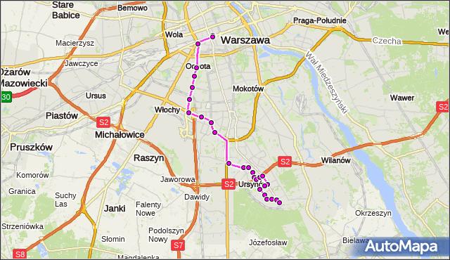 Autobus 504 - trasa DW.CENTRALNY - OS.KABATY. ZTM Warszawa na mapie Targeo