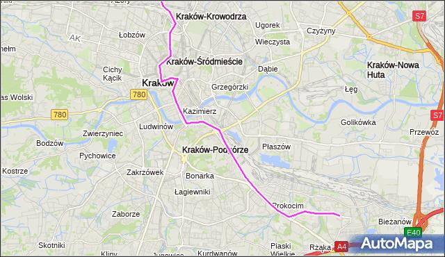 Tramwaj 3 - trasa Krowodrza Górka - Bieżanów Nowy. MPKKrakow na mapie Targeo