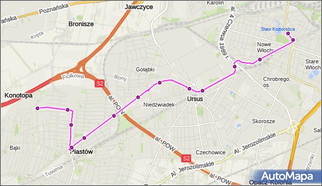 Autobus 716 - trasa OGIŃSKIEGO PT - WAŁOWICKA. ZTM Warszawa na mapie Targeo