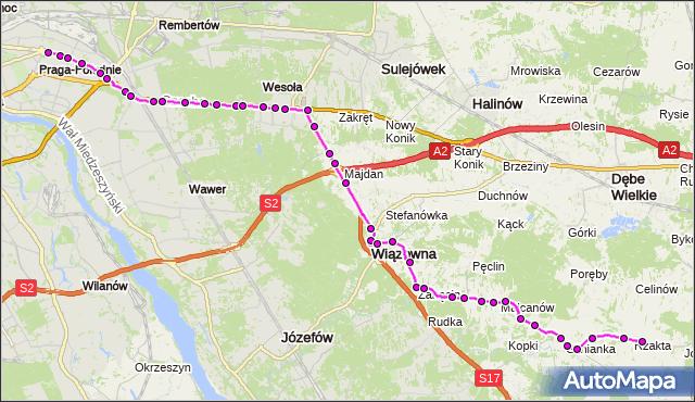 Autobus 720 - trasa WIATRACZNA - RZAKTA RZ. ZTM Warszawa na mapie Targeo