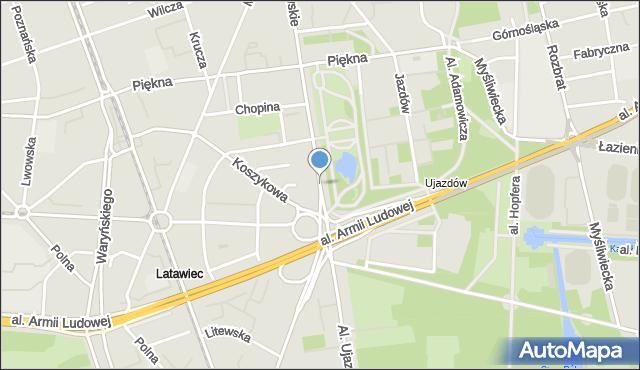 Warszawa, Aleje Ujazdowskie, mapa Warszawy