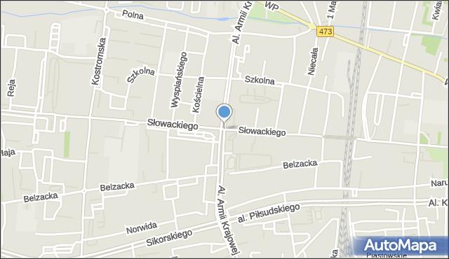 Piotrków Trybunalski, Armii Krajowej, al., mapa Piotrków Trybunalski
