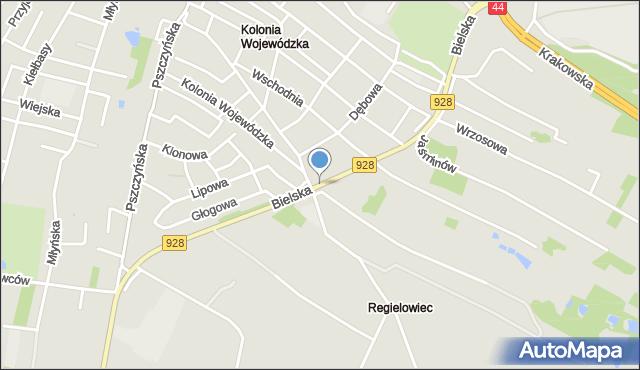 Mikołów, Bielska, mapa Mikołów