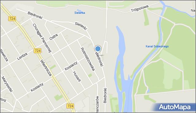 Warszawa, Biedronki, mapa Warszawy