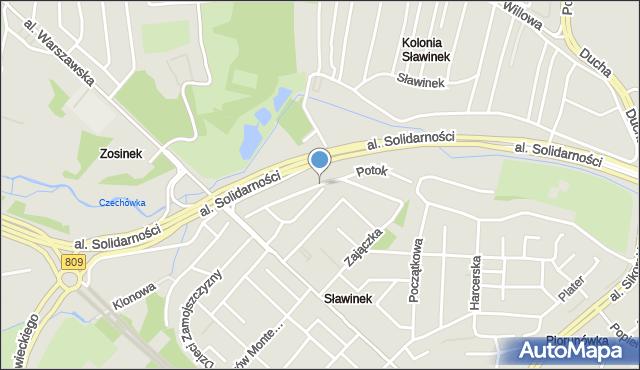 Lublin, Botaniczna, mapa Lublina