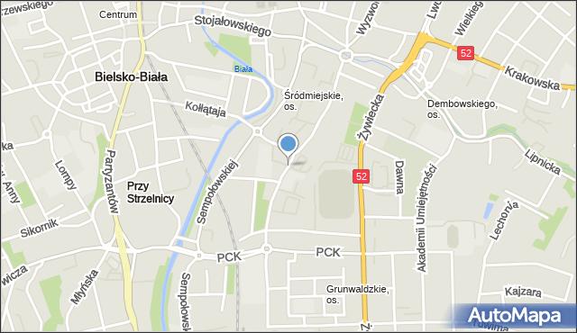 Bielsko-Biała, Broniewskiego Władysława, mapa Bielsko-Białej