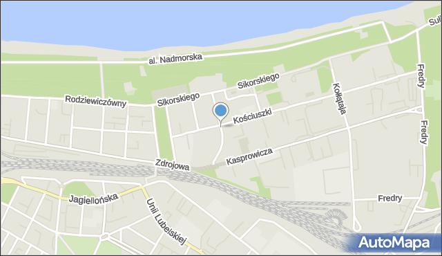 Kołobrzeg, Chopina Fryderyka, mapa Kołobrzegu