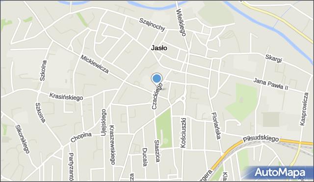 Jasło, Czackiego Tadeusza, mapa Jasła