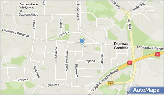 Dąbrowa Górnicza, Dekerta Jana, mapa Dąbrowa Górnicza