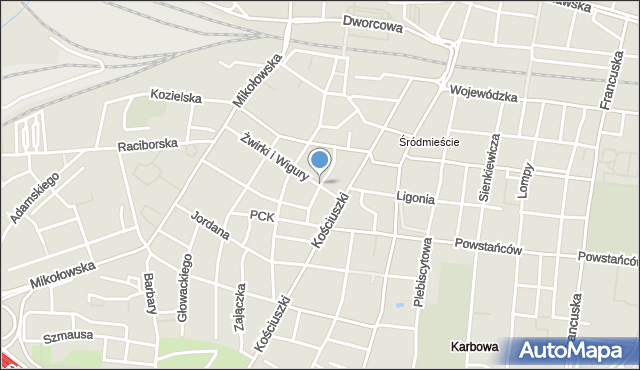Katowice, Drzymały Michała, mapa Katowic