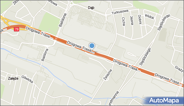 Zabrze, Drogowa Trasa Średnicowa, mapa Zabrza