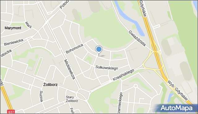 Warszawa, Dygasińskiego Adolfa, mapa Warszawy